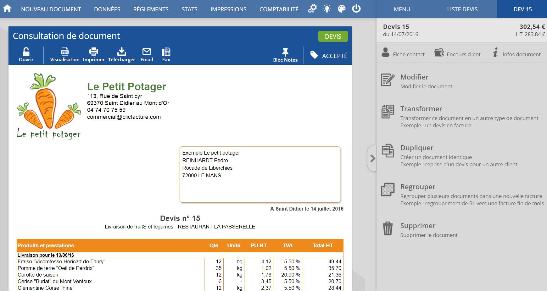Visualización de un presupuesto en línea