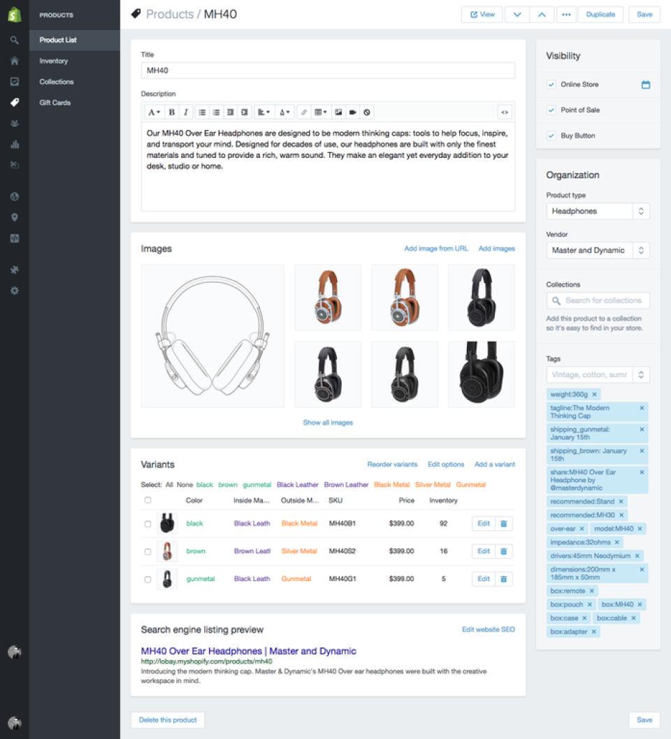 Shopify: descripción del producto
