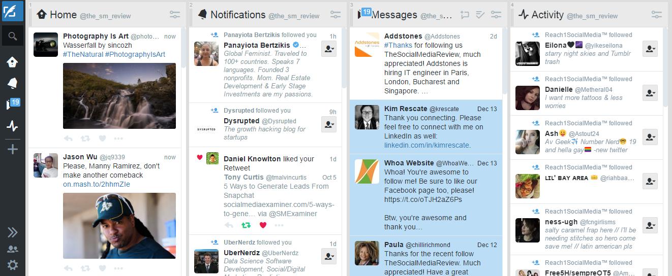 Interfaz Tweetdeck mundial