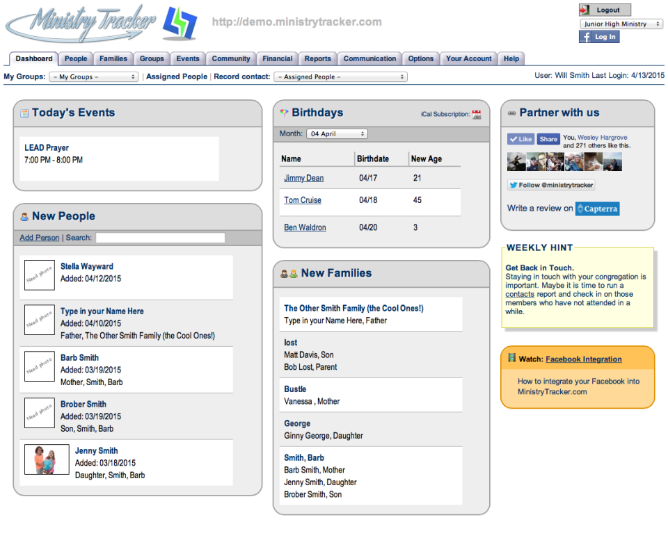 MinistryTracker.com de pantalla-4