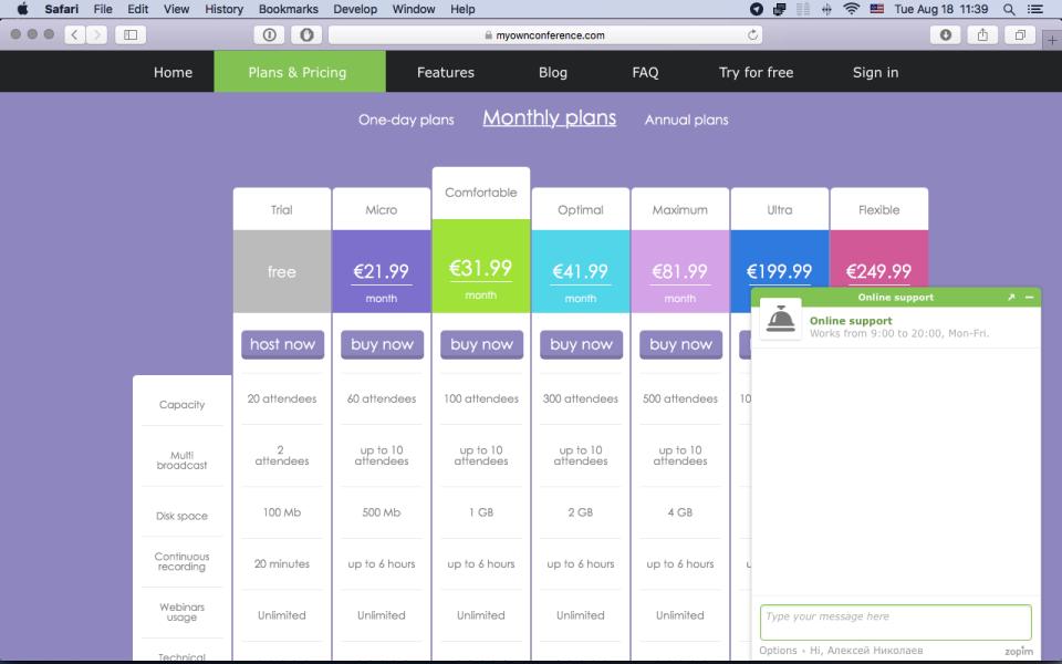 MyOwnConference de pantalla-1