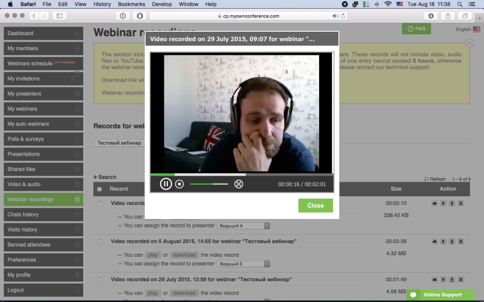 MyOwnConference de pantalla-4