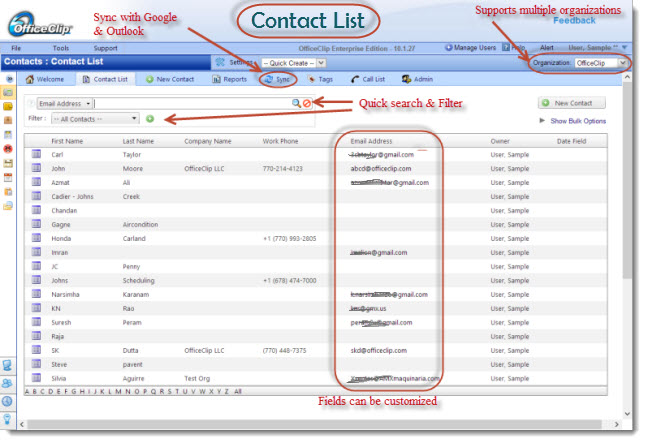 OfficeClip administración de contactos de pantalla-0
