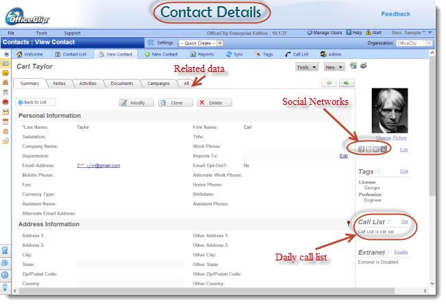OfficeClip administración de contactos de pantalla-1