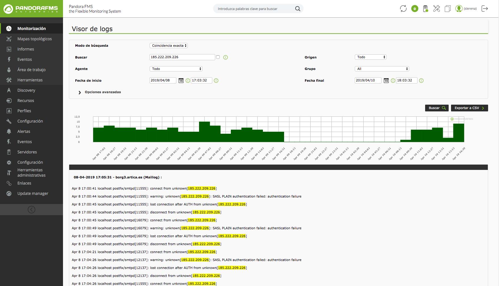 Pandora FMS incorpora LogStash + ElasticSearch para almacenar la información de logs, lo que implica una mejora sustancial del rendimiento.