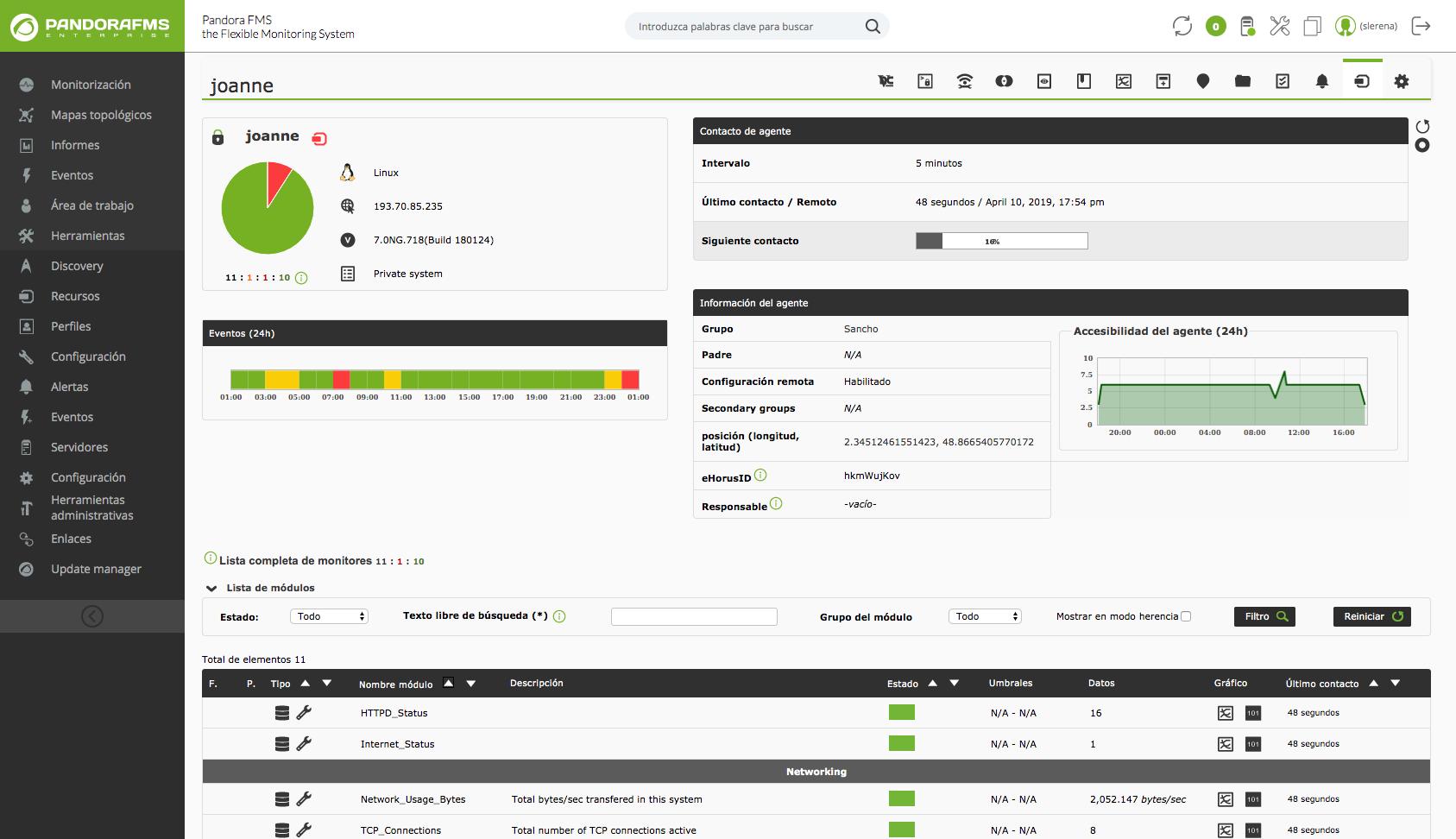 Los agentes software se encuentran en ejecución en los sistemas de los cuales recogen información.