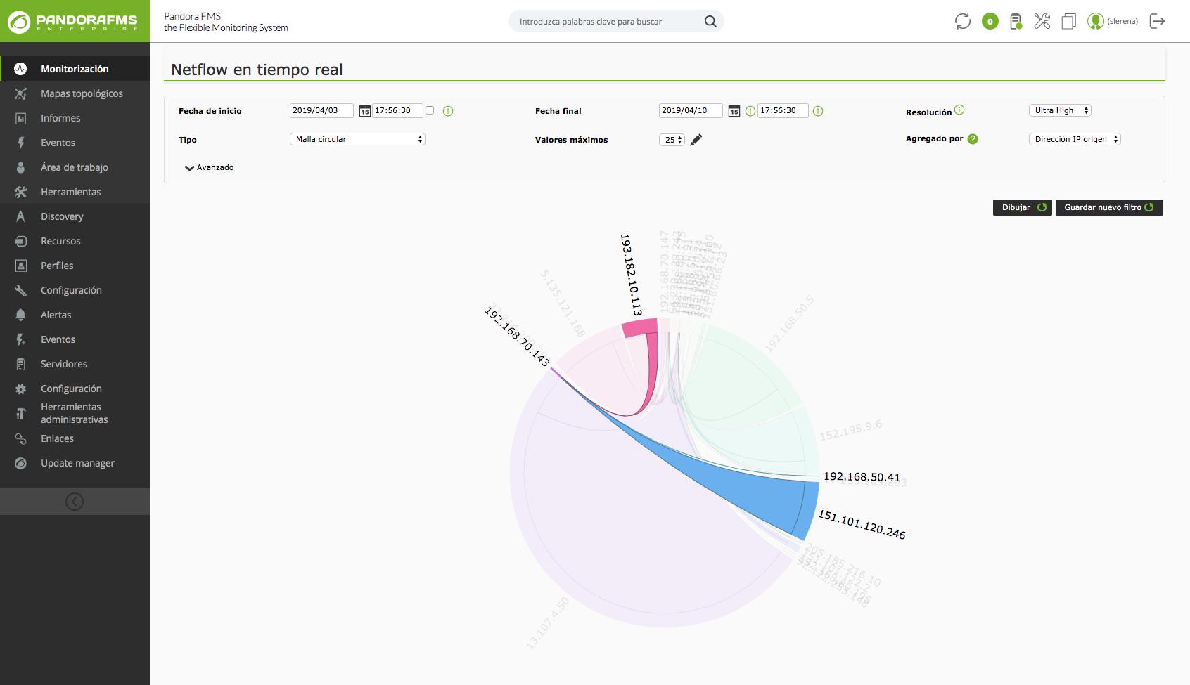 Pandora FMS utiliza dos sistemas alternativos y complementarios para analizar la red en tiempo real: Pandora NTA y Netflow