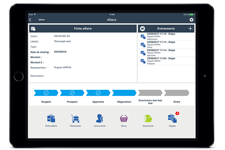 Siga sus clientes potenciales y proyectos de clientes (documentación adjunta, coeficiente de la firma, la integración de los datos en la tubería)