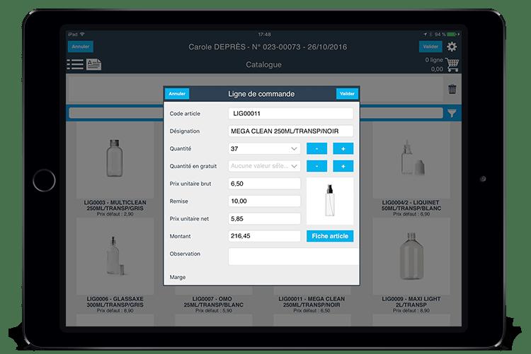 Recibir órdenes en el lugar la presentación del producto, añadir en la cesta, edición de cotizaciones, vali