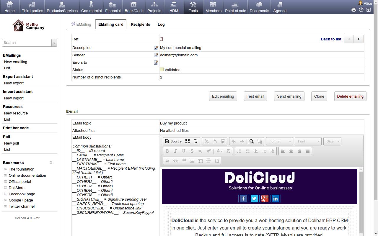 DoliCloud ERP y CRM