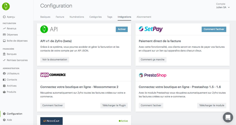 Integraciones en Zyfro (comercio electrónico, el pago, financiación ...)