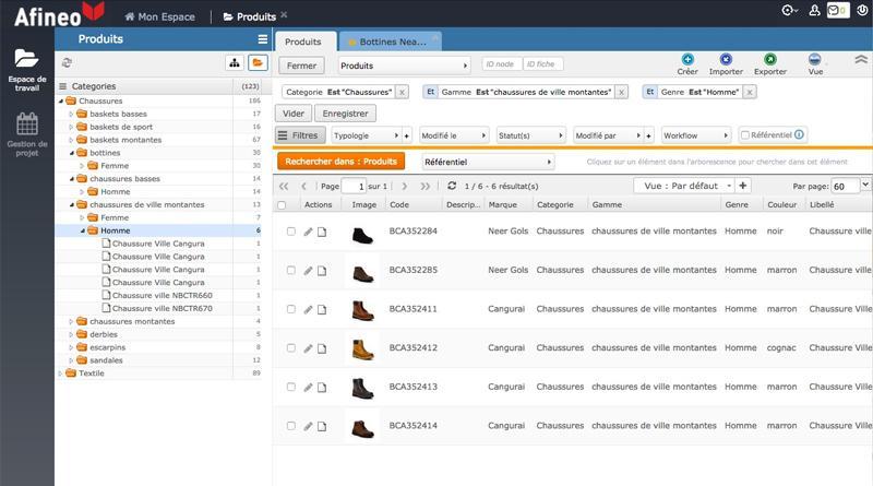 PIM con una organización y una gestión clara, sencilla y eficaz de los contenidos.
