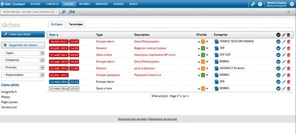 gestión de tareas en RCMP Contacto