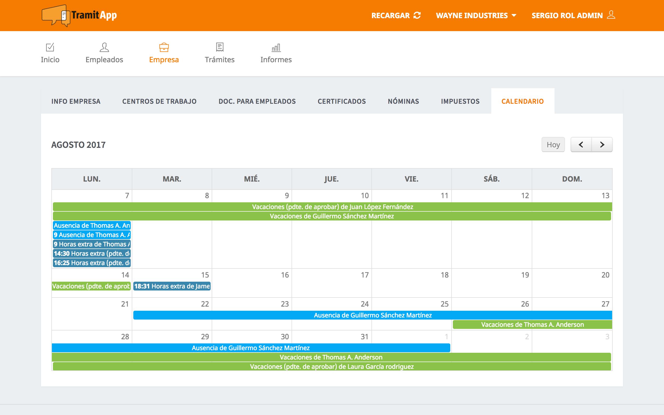 Recoge Todo Lo importante en el calendario de Empresa