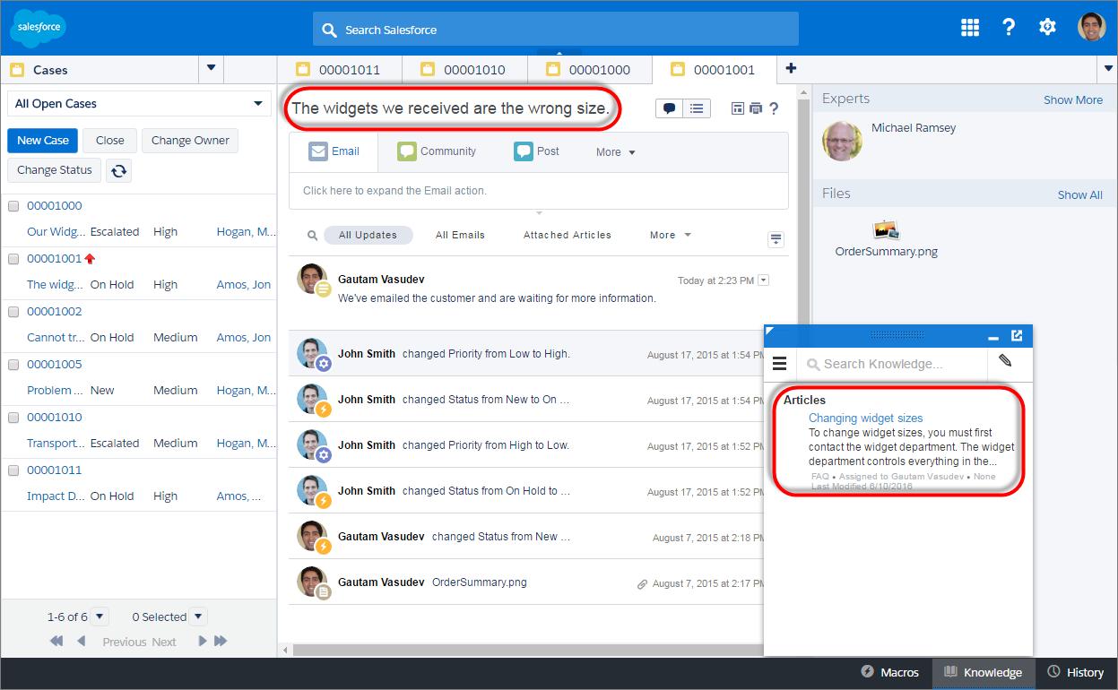 Gestión de widgets Salesforce Service Cloud