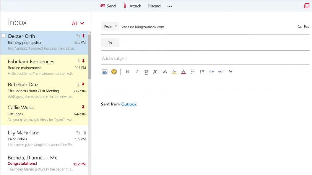 Escribir un correo electrónico con Outlook
