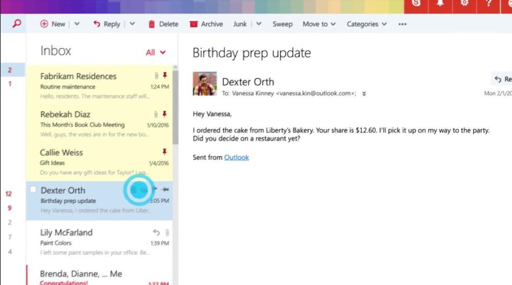Gestión de mensajes de correo electrónico en Outlook