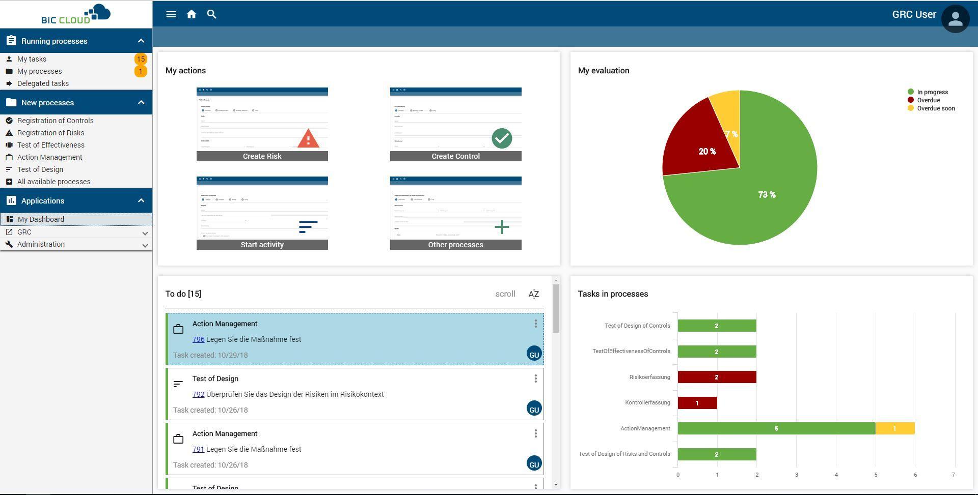 Gestión de riesgos y controles con BIC Cloud GRC