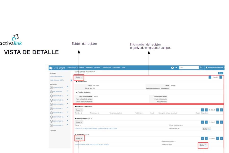Principales funcionalidades desde la vista de detalle de SuiteCRM