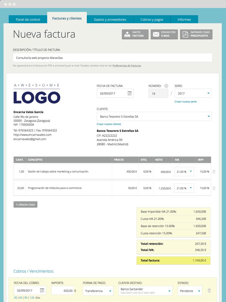 cuéntica factura personalizable