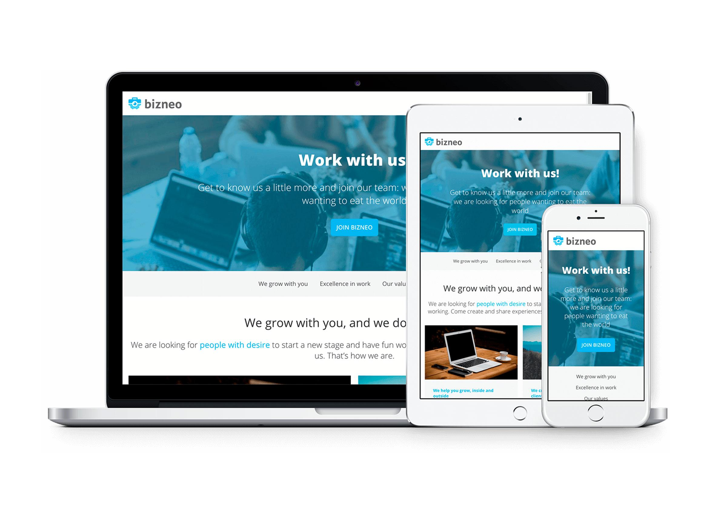 Desarrolla tu marca empleadora. Todas tus ofertas en un portal personalizado con tu marca y completamente responsive.