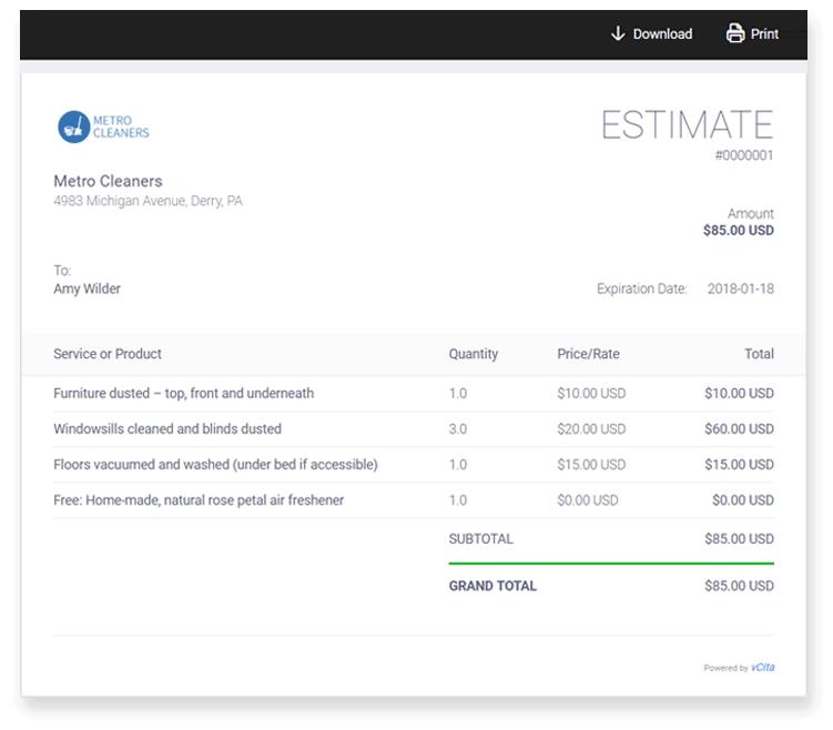 vcita-Price-estimate-sample