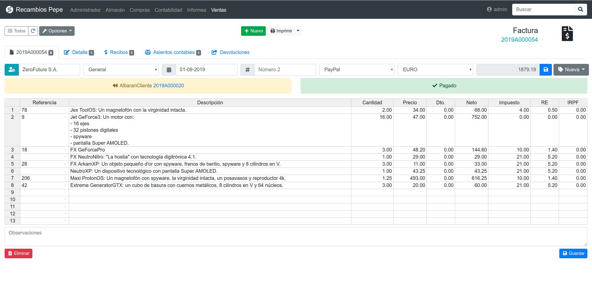 Creación de facturas con FacturaScripts