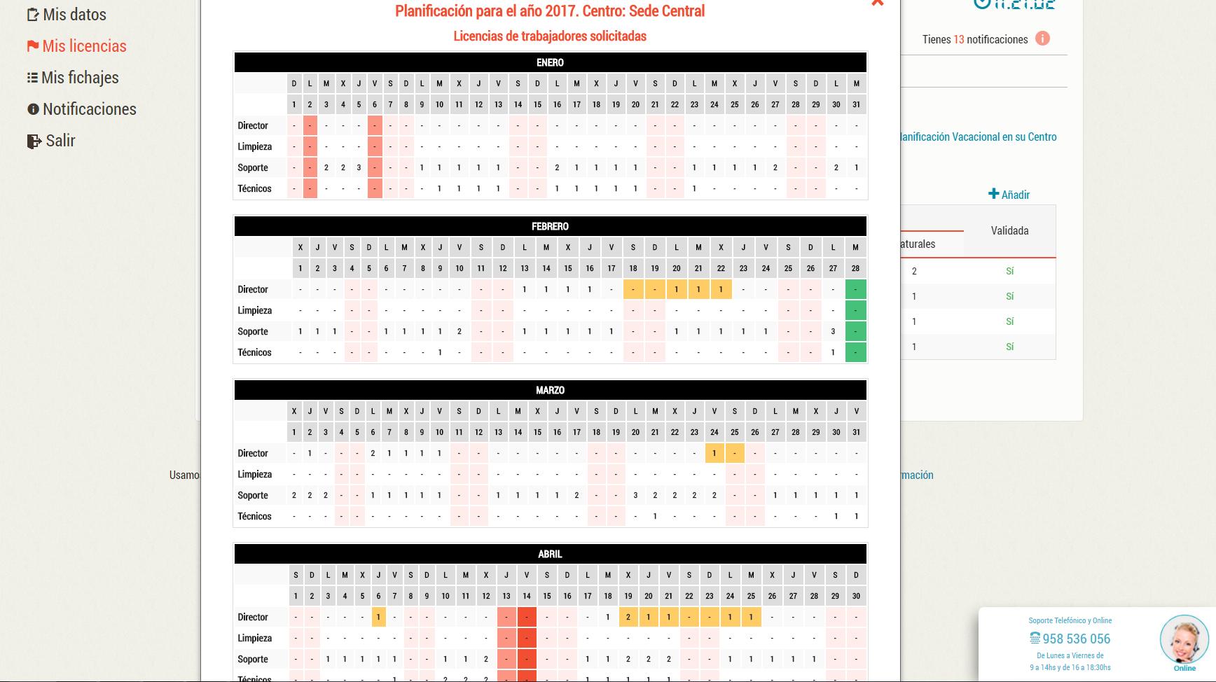 Calendario de licencias solicitadas