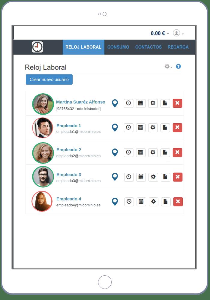 Panel web del administrador