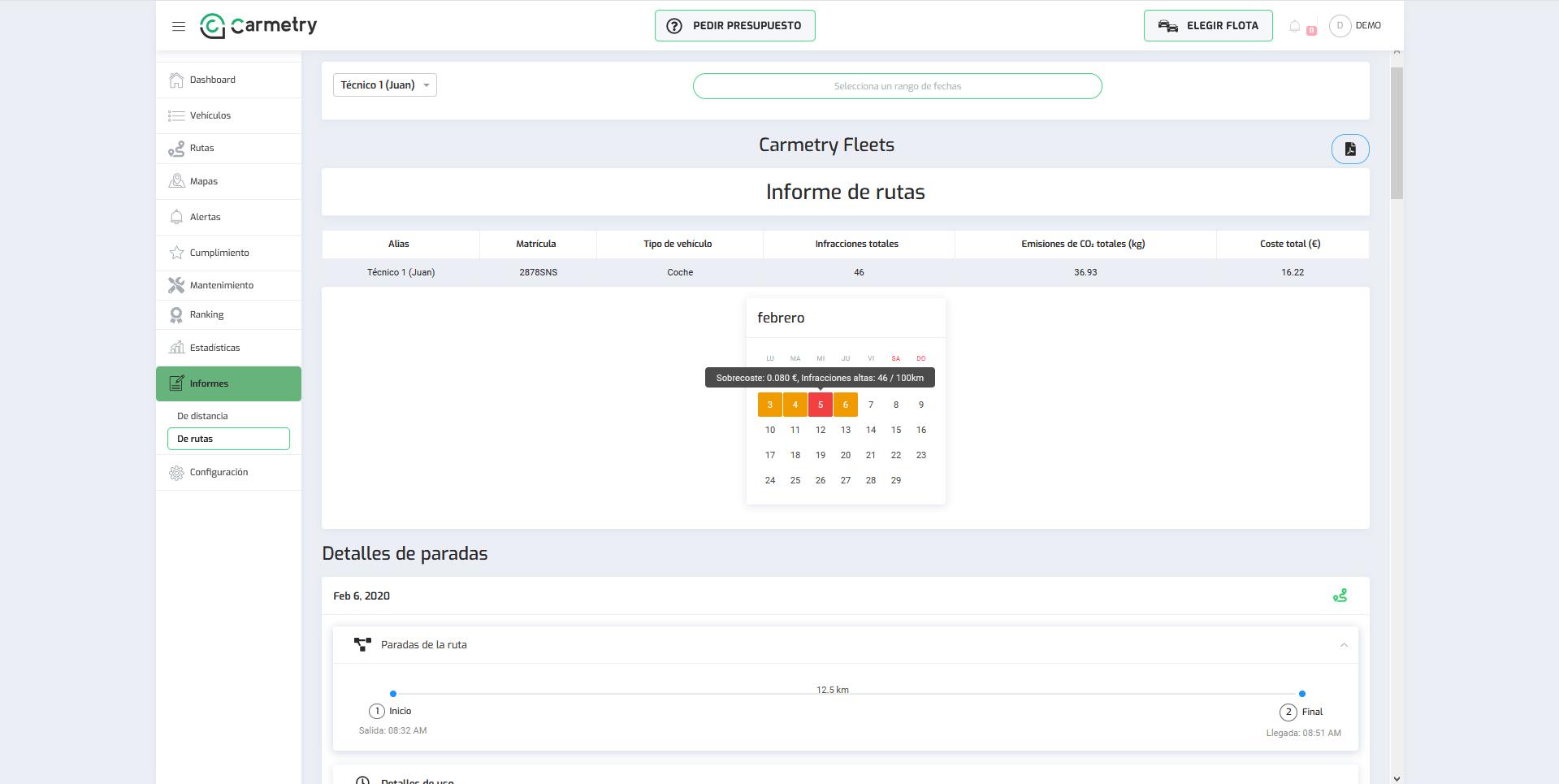 Informes de rutas por rango de fechas de un vehículos