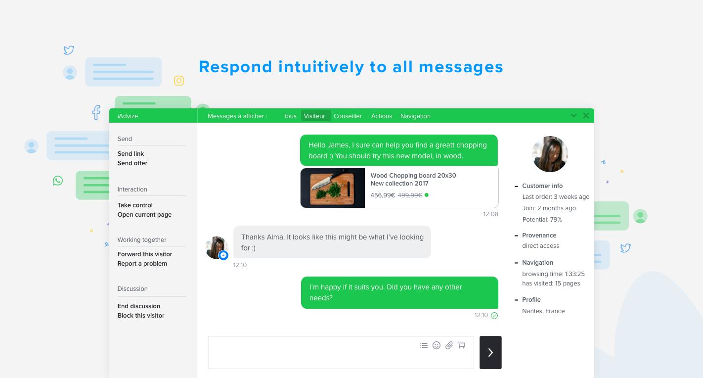 Iniciar una conversación con sus clientes en tiempo real en todos los canales a través de una única plataforma