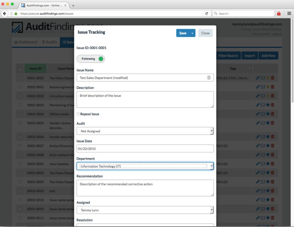 AuditFindings.com de pantalla-2