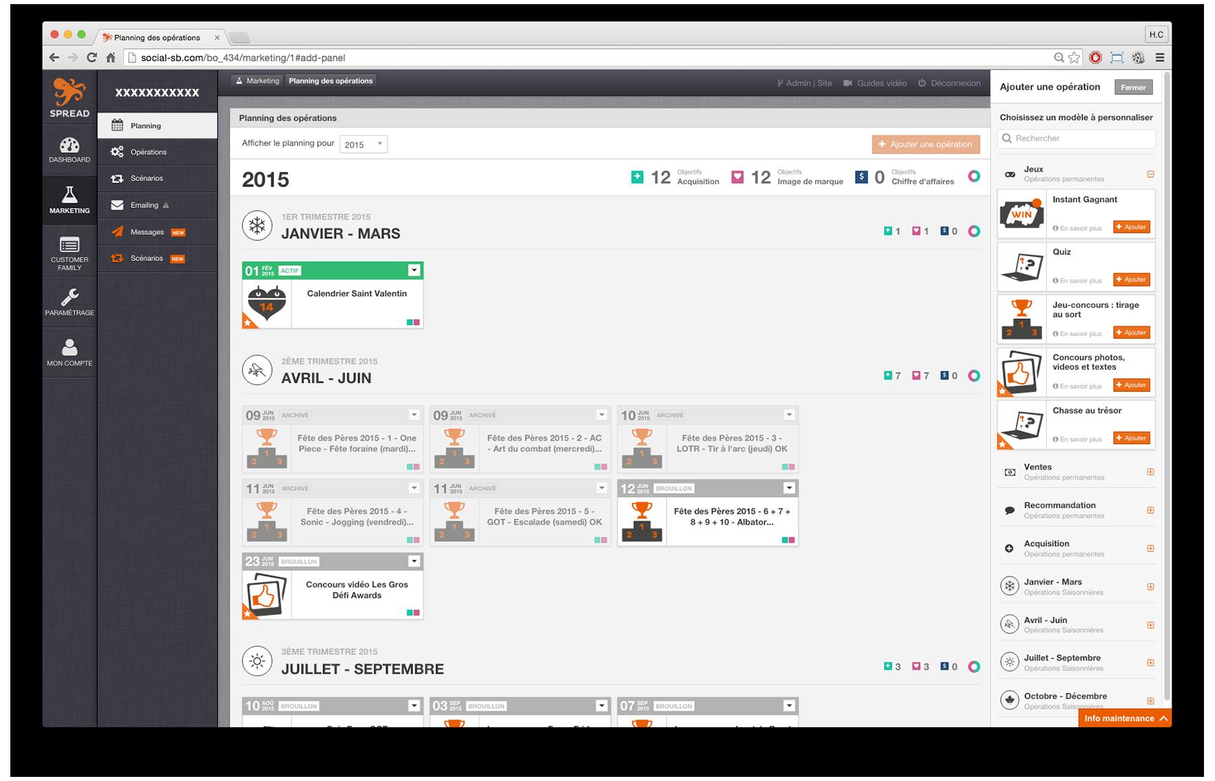 Spread Familia: página de darse de baja, tipo de contacto, la identificación de los usuarios / empresas